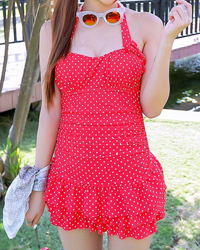 Vintage Halterneck Polka Dot Print Multi-Layered One Piece Women's Swimsuit