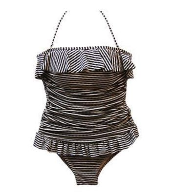 Halterneck Stripe One Piece Swimsuit with Ruffles