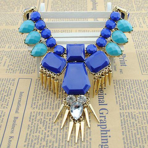 Vintage Rivet Embellished Faux Gemstone Pendant Necklace