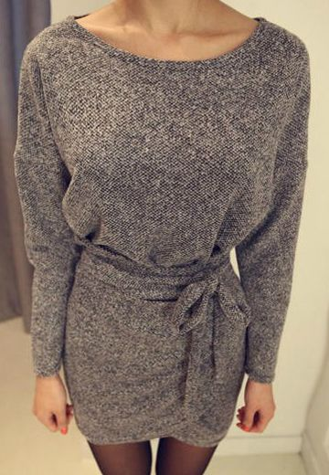 Solid Color Long Sleeve Simple Style Scoop Neck Slimming Faux Twinset Women's Dress