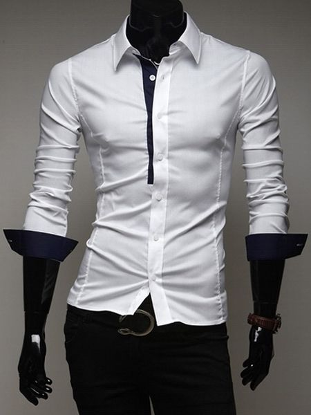 Casual Style Fitted Shirt Collar Chic Color Splicing Long Sleeves Polyester Shirt For Men