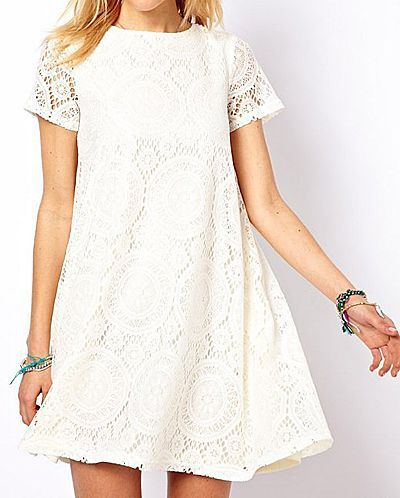 Elegant Scoop Neck Openwork Short Sleeve Lace Dress For Women