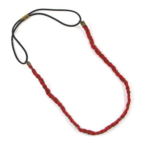 Classic Red Rope Braided Long Hairband For Women