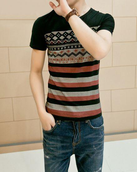 Slimming Trendy Round Neck Stripe Geometric Print Short Sleeve Cotton Blend T-shirt For Men
