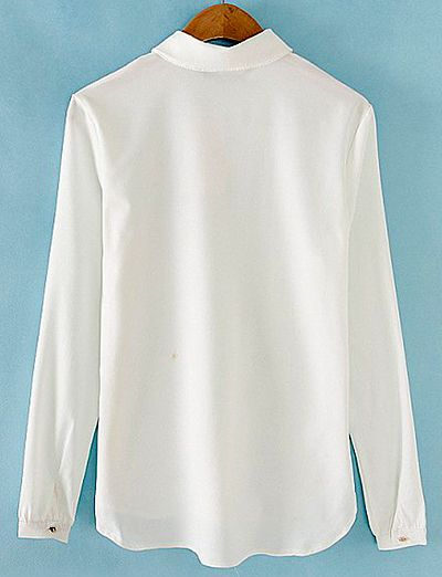 Ladylike Turn-Down Collar Long Sleeve Single-Breasted Beading Blouse For Women