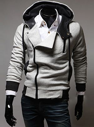Street Style Side Zipper Studs Long Sleeves Men's  Polyester Hoodies