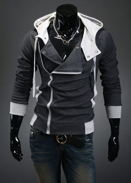 Street Style Side Zipper Studs Long Sleeves Men's  Polyester Hoodies