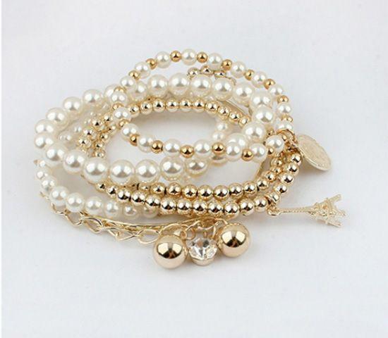 6 PCS of Faux Pearl Decorated Star Pendant Charm Bracelets