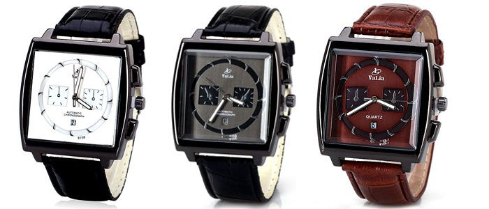 Popular Quartz Watch with Date Analog Indicate Leather Watchband for Men