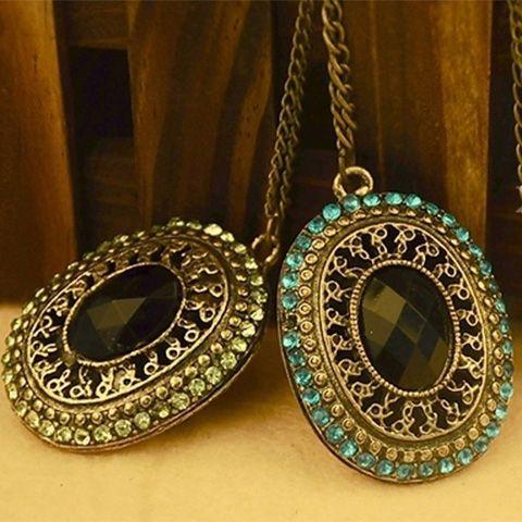 Vintage Style Rhinestone Embellished Long Pattern Necklace