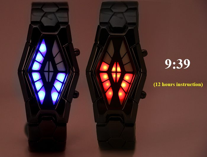 Waterproof Steel Band LED Screen Watch with Blue and Red Light Display Snake Head Shaped