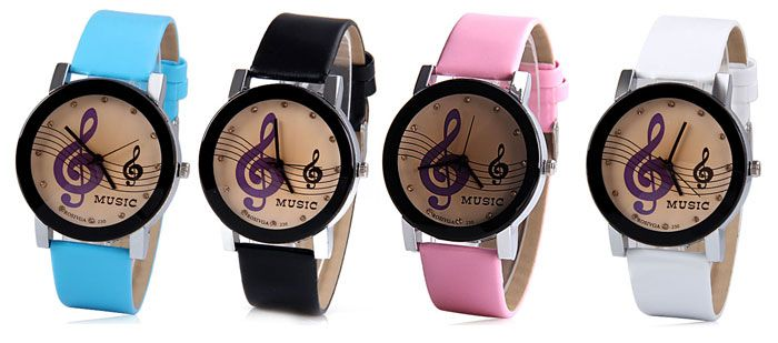 Rosivga Quartz Watch with Diamonds Analog Indicate Leather Watch Band Music Notes Pattern for Women