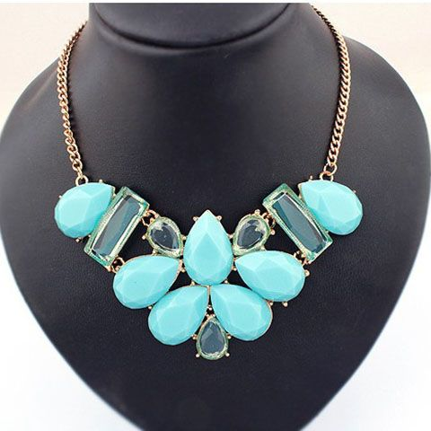 Rhinestoned Waterdrop Shape Pendant Necklace