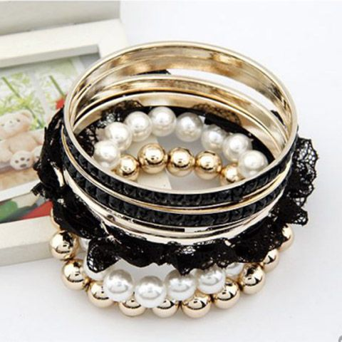 6PCS Faux Pearl Lace Beads Rhinestone Embellished Multi-Layered Bracelets
