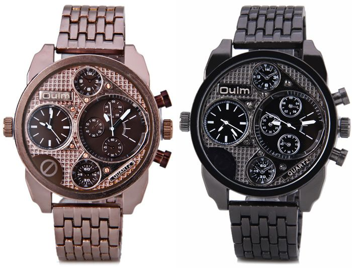 Oulm Unique Waterproof Quartz Watch with Double Movt Analog Indicate Steel Watchband for Men