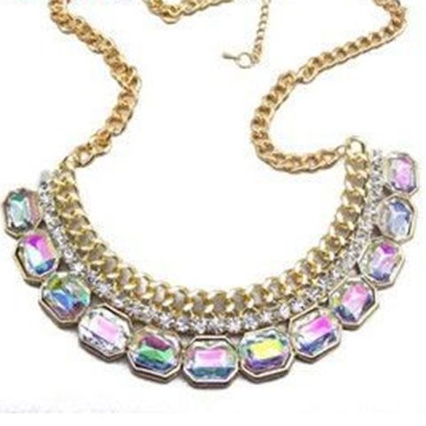 Vintage Faux Gem Embellished Fake Collar Shape Necklace