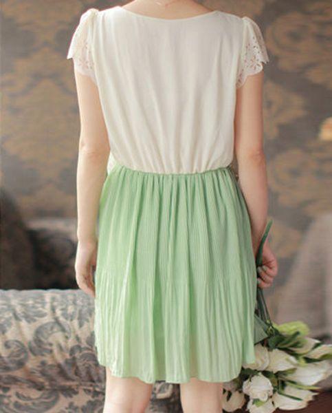 Fresh Ladylike V-Neck Layered Ruffles Hem Chiffon Women's Pleated  Dresses
