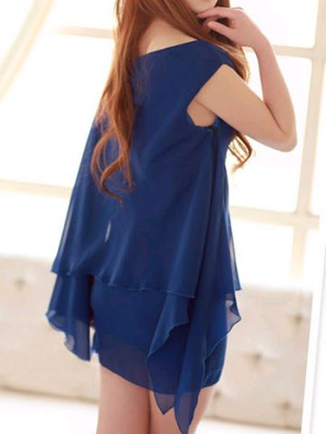 Graceful Sleeveless Solid Color Chiffon Women's Summer Dresses