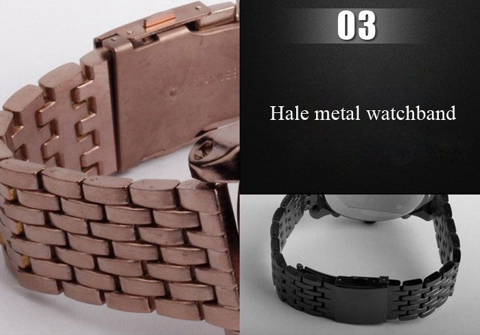 Oulm Luxury Waterproof Quartz Watch with Double Movt Analog Indicate Steel Watchband for Men