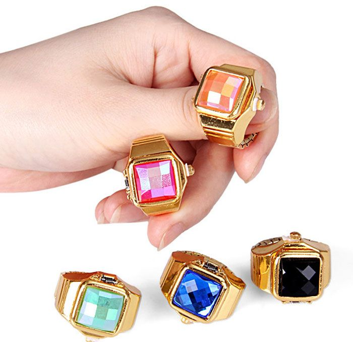 Fashion Flip Cover Finger Ring Watch with Gem Shape Analog Steel Watchband