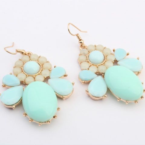 Pair of Alloy Faux Gem Geometric Drop Earrings