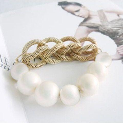 Elegant Ladylike Style Beads Embellished Women's Knitted Bracelet