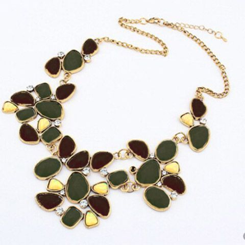 Geometric Alloy Rhinestoned Faux Gemstone Pendant Necklace