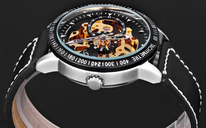 Jijia 8010 Men Mechanical Watch Self-winding Hollow-out Round Dial Leather Wristband