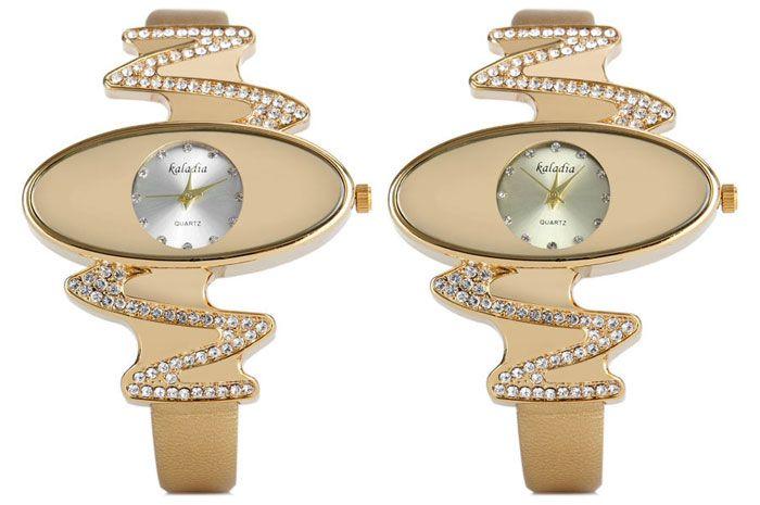 Kaladia 8916 Quartz Watch Diamond Elliptical Dial Leather Strap for Women