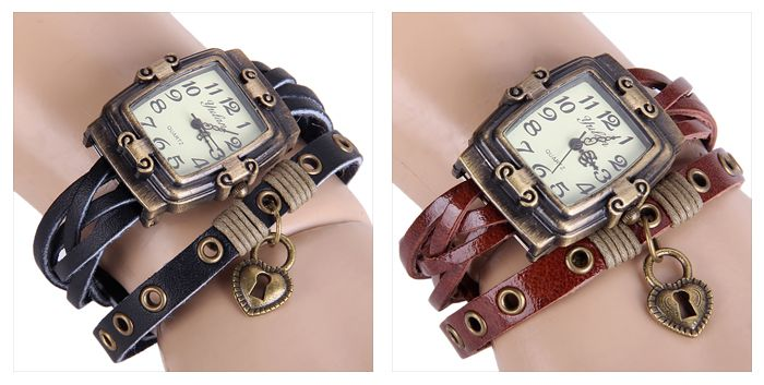 Yulan Female Vintage Style Quartz Watch Rectangle Dial Leather Wristband