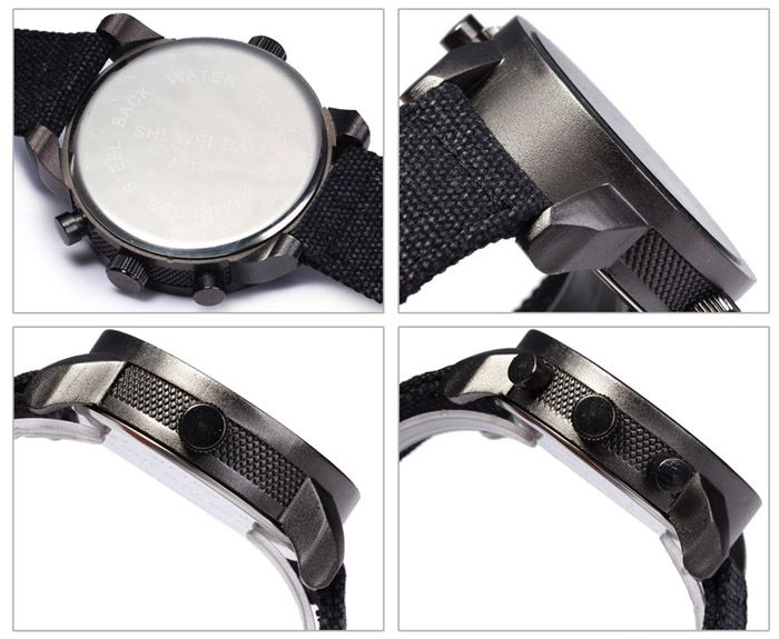 Shiweibao A3130 Double Time Men Quartz Watch Round Dial Canvas Watchband