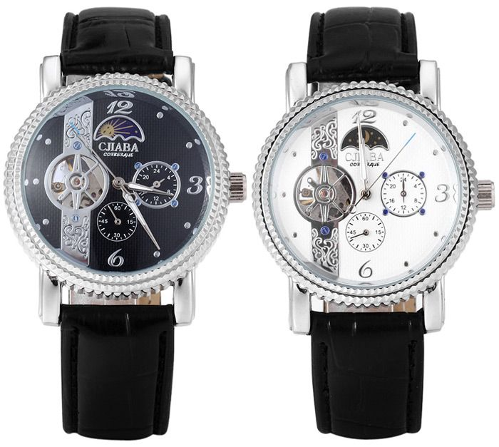 CJIABA Luxury Tourbillon Automatic Mechanical Water-resistant Men's Military Watch Leather Band