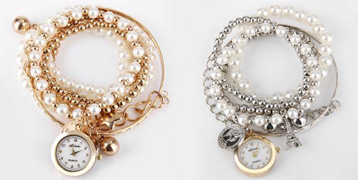 Ailisha Multilayer Quartz Chain Watch Beads Pendant Round Dial for Women