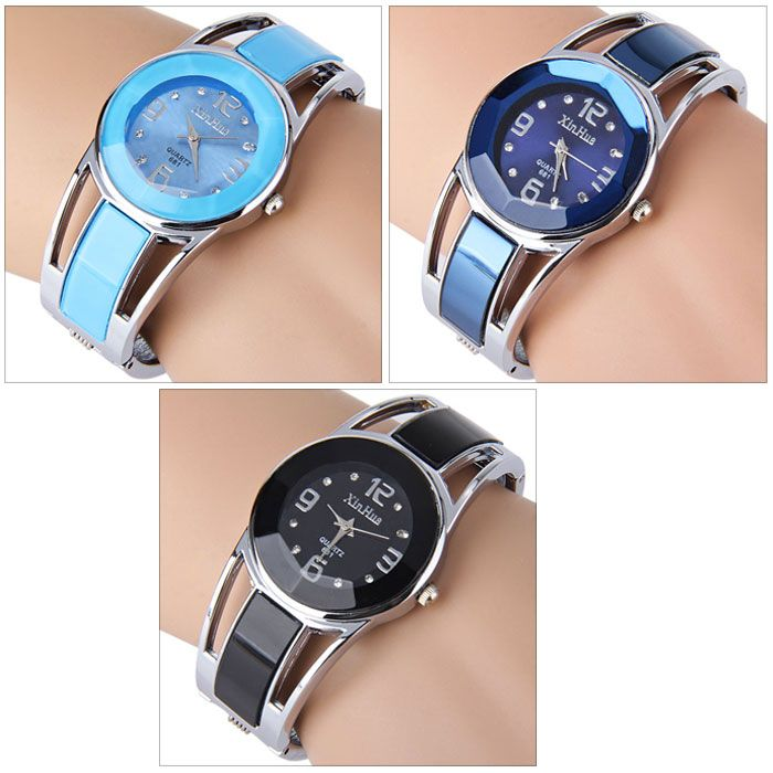 Xinhua 681 Bracelet Style Quartz Watch with Rhinestone Dial Stainless Steel Band for Women
