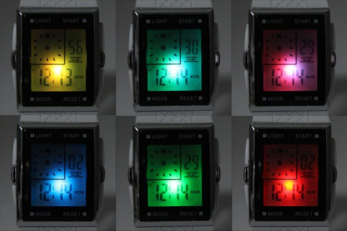 LED Watch Dual Shows Day Date Alarm Stopwatch Rubber Strap Rectangle Dial