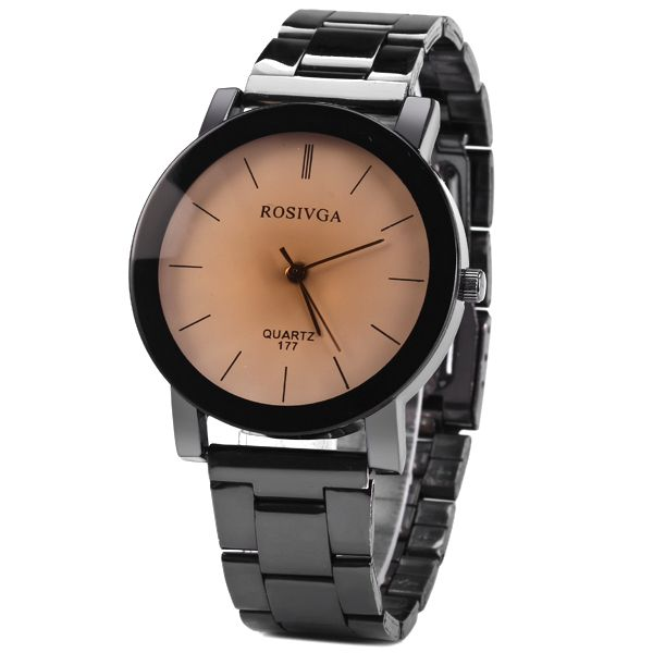 Rosivga 177 Quartz Watch with Stripes Indicate Stainless Steel Watchband for Men