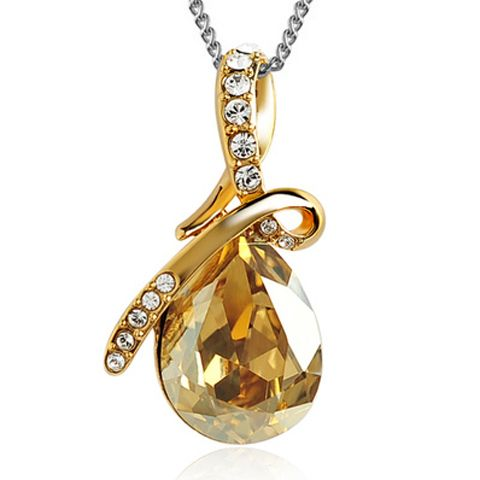 Sparking Waterdrop Rhinestoned Pendant Women's Necklace