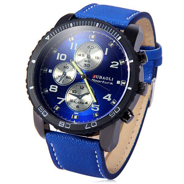 Jubaoli Leather Band Male Quartz Watch with Rotatable Bezel Decorative Sub-dials