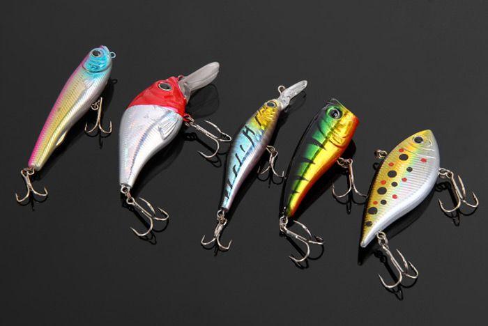 5pcs Yoshikawa Lifelike Fish Shaped Hard Fishing Lure 7.5cm Bait with Hooks
