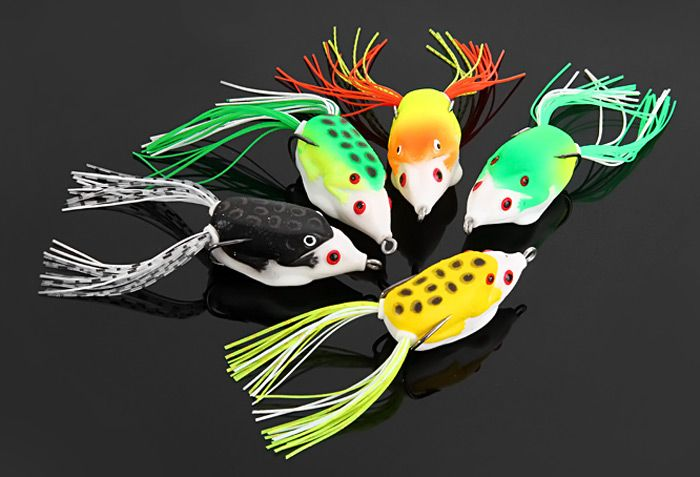 Yoshikawa 5pcs Lifelike Frog Shaped Soft Fishing Lure 10cm Bait with Hooks