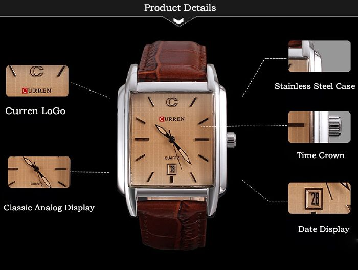 Curren 8097 Strips Hour Marks Leather Wrist Watch with Calendar Function for Men