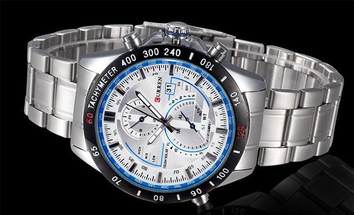 Curren 8149 Quartz Watch with Calendar Analog Indicate Steel Watchband for Men