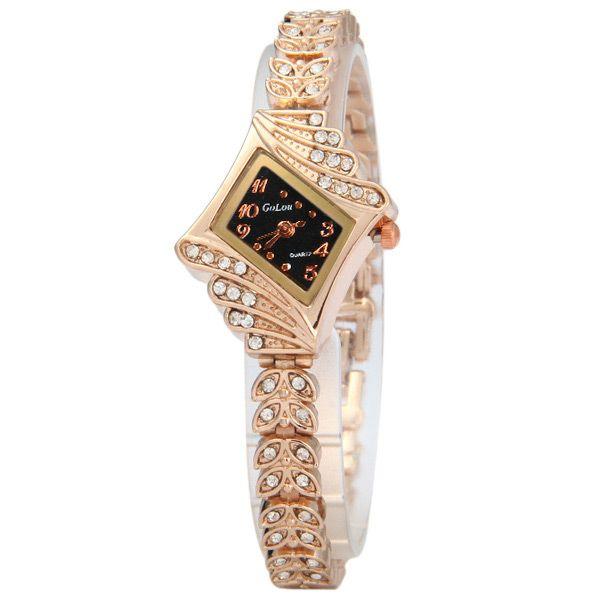 Golou G021 Luxury Diamond Leaf-shaped Steel Strap Ladies Quartz Watch Bracelet