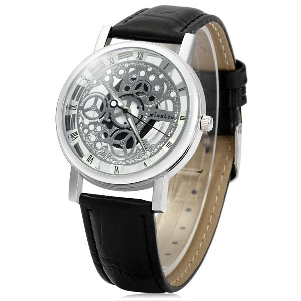 Xinslon Hollow-out Quartz Watch with Leather Band for Men