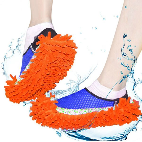 Practical Chenille Mop Slippers Dust Floor Cleaning Mopping Foot Shoes Home Pair Cleaner