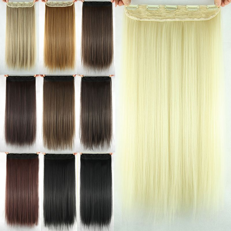 Charming Silky Straight Heat Resistant Synthetic Hair Weft For Women