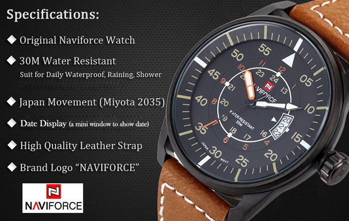 Naviforce 9044 Water Resistant Male Military Japan Quartz Watch Date Display