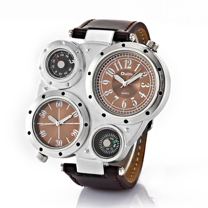 Oulm Adventure Men's Quartz Military Wrist Watch with Dual Movt Compass & Thermometer Function Round Shaped Brown 23mm Leather Band