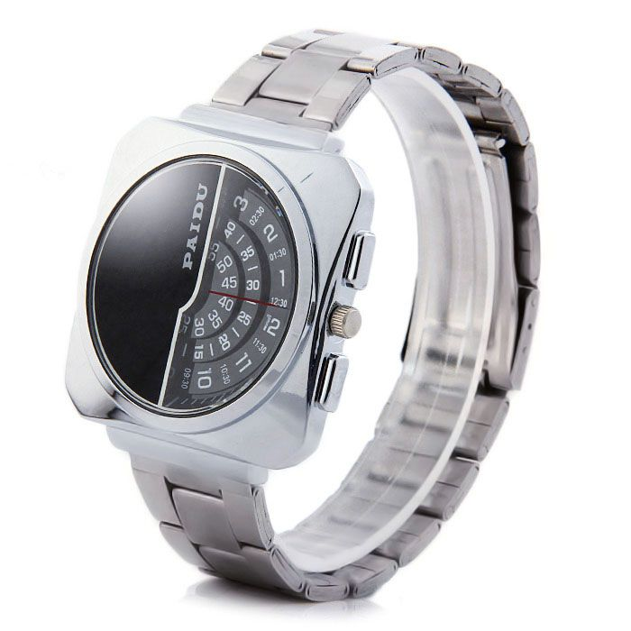 Paidu 58913 Male Rotational Scale Japan Quartz Watch Steel Strap Wristwatch