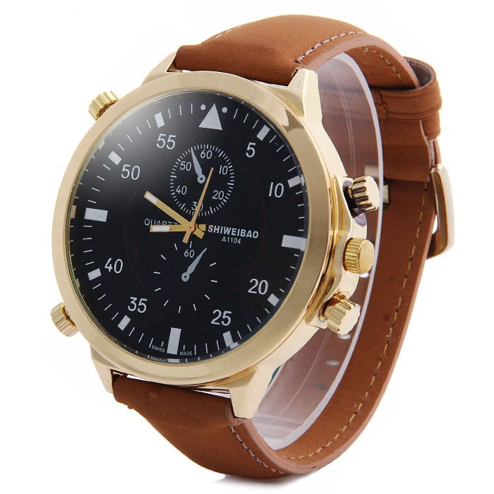 Shiweibao A1104 Analog Quartz Watch with Big Dial Nubuck Leather Band for Men